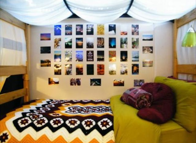 Dorm Ideas Lights Underneath The Top Bunk And Fabric Over This Would Be Cute If I Put A Little Personal Space Area There Ohhhh I Love It