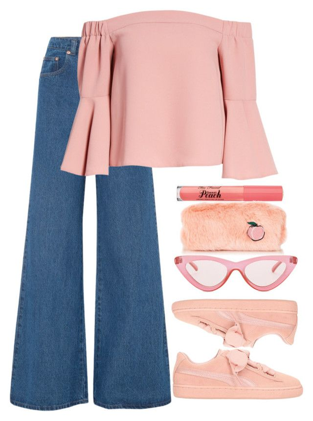 """peach"" by varrica ❤ liked on Polyvore featuring Solace, Topshop, Too Faced Cosmetics, Puma, Le Specs, denimtrend and widelegjeans"