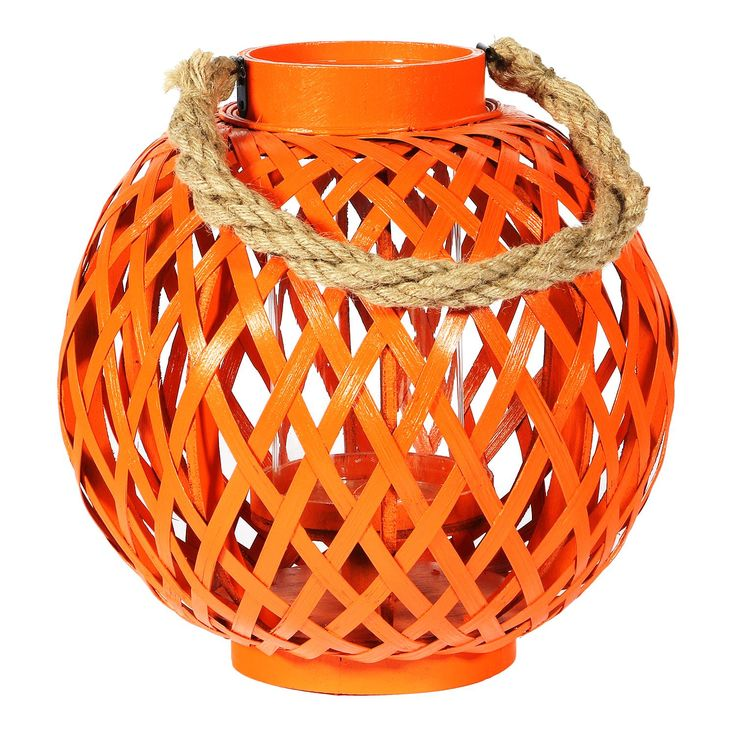 Bulbous Bamboo Lantern - Orange from Earth Homewares