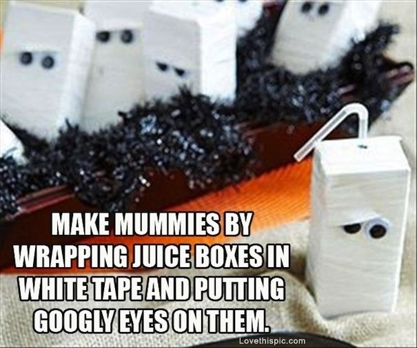 Good idea for class celebration since most kids can't bring treats!!;) Mummy Juice Boxes | Last-Minute Halloween Hacks