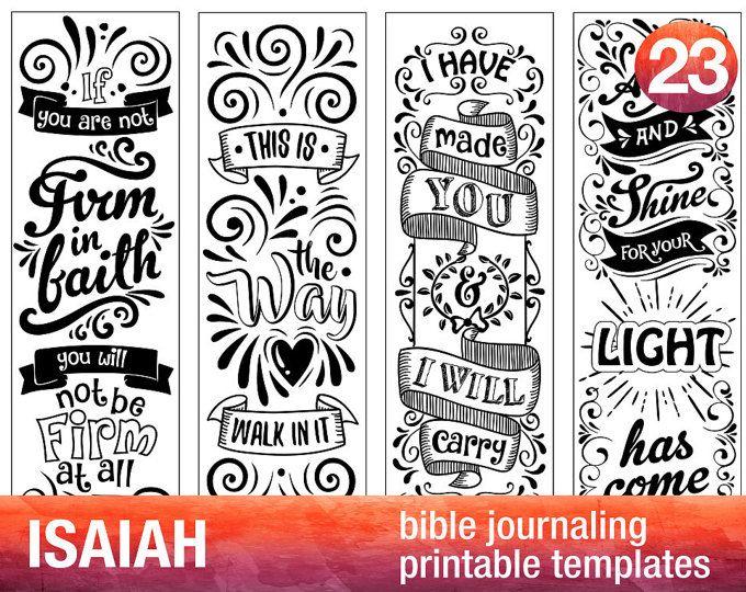ISAIAH - 4 Bible journaling printable templates, illustrated christian faith bookmarks, black and white bible verse prayer journal