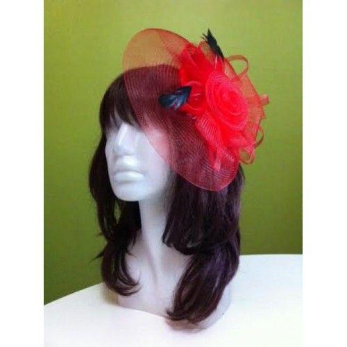 Kırmızı Vualet / Nikah Şapkası / Nişan / Kına İçin