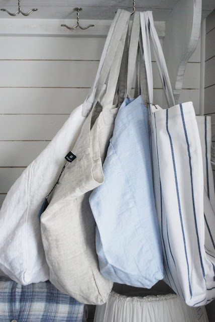 Cotton and linen totes- could make from thrift store men's shirts