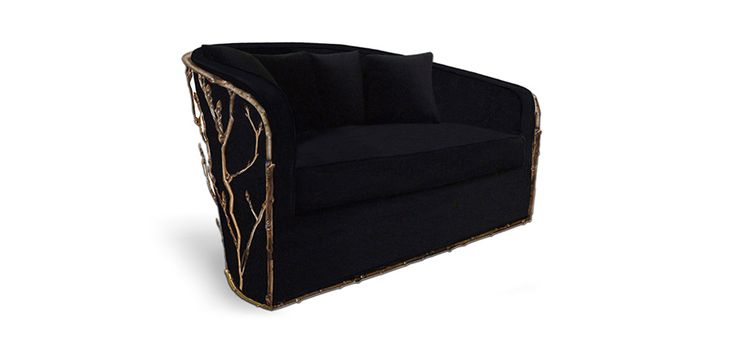 This modern sofa design counts with an upholstery fabric and a base in cast brass and oxidized gold plated. Enchanted has a unique design with great comfort. This luxury furniture brings elegance to your home | Discover more bedroom sofa ideas: http://masterbedroomideas.eu/
