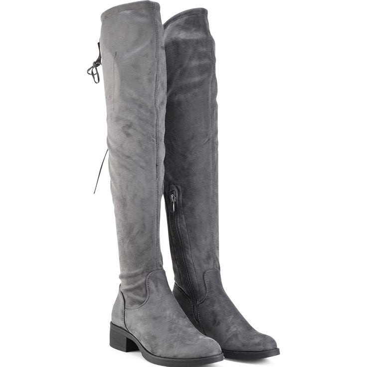 Grey suede over the knee boot Lets Walk JN77-06