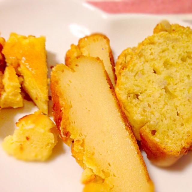 真ん中のチーズケーキの作り方です( ´ ▽ ` )ノ - 17件のもぐもぐ - チーズケーキ2種&バナナケーキ by えりのあ