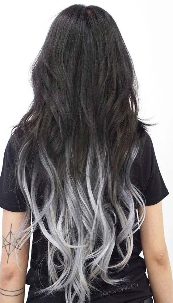 Штормовой серебряный омбре на длинных волосах