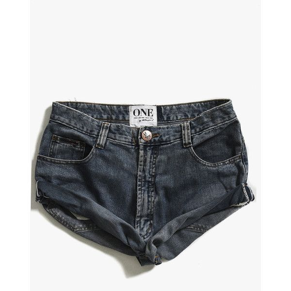 One Teaspoon Sailor Vintage Bandits (149 NZD) ❤ liked on Polyvore featuring shorts, white short shorts, denim shorts, frayed jean shorts, one teaspoon shorts and destroyed jean shorts