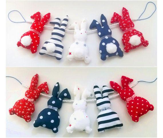 Bunny nursery garland, bunny car seat toy, crib toy, pram toy, stroller toy, car seat chain, stroller chain