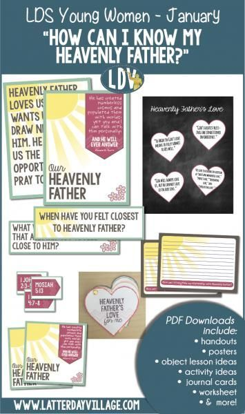 "LDS Young Women January: ""How can I know my Heavenly Father?"" Lesson helps, handouts, activity ideas - http://LatterdayVillage.com"