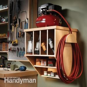 Storing Your Compact Compressor: Store your nail guns, fasteners, hoses and accessories as well as a small compressor in this easy-to-build cabinet. Build it from one sheet of plywood and a few 1x2s. Read more: http://www.familyhandyman.com/workshop/storage/storing-your-compact-compressor/view-all