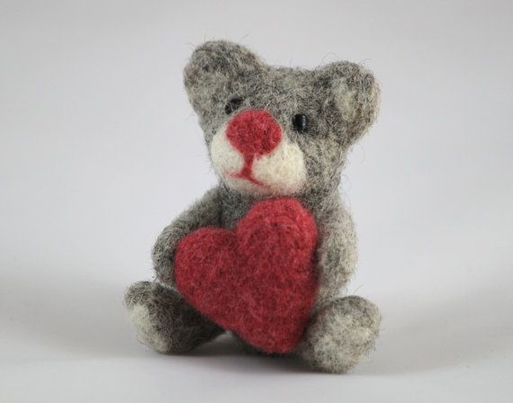 'Felt the Love' treasury - Needle Felted Teddy Bear with a Red Heart, Felted Animal, Valentine's Gift. $24.00, via Etsy.
