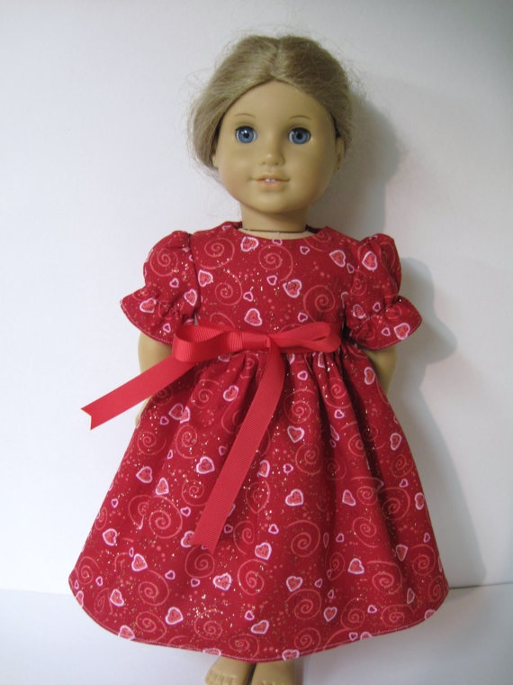 valentines day dress for your american girl by dressesfordolls 1299 - Valentine Dresses For Girls