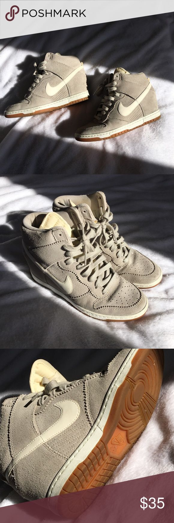 Nike Dunk Sky Hi Sneaker Wedges Nike Dunk Sky Hi Sneaker wedges, super comfortable and fit true to size! A few scuffs as you fan see, but they still look amazing. grey suede with white leather checks. Nike Shoes Sneakers