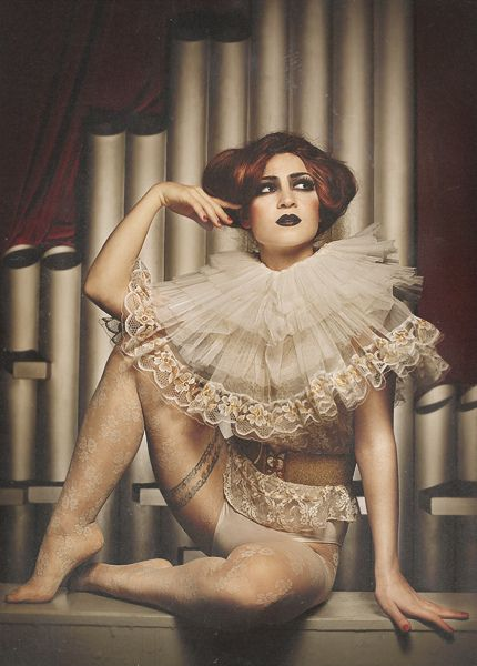 wedding dress with a ruffle like this maybe? Circus queen 2 by annalucylle, via Flickr.