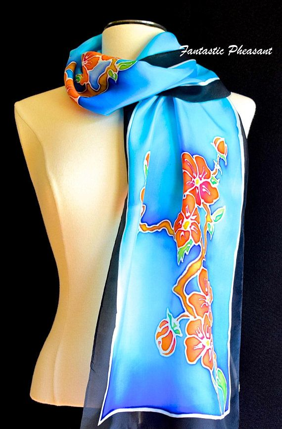 Hand painted silk scarf/shawl gorgeous cherry blossoms in