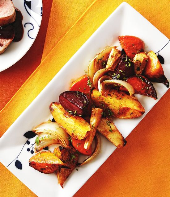 Baked Root Vegetables with Maple Syrup and Cinnamon