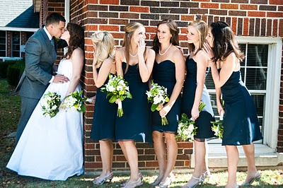 fun bridesmaids #wedding #kiss