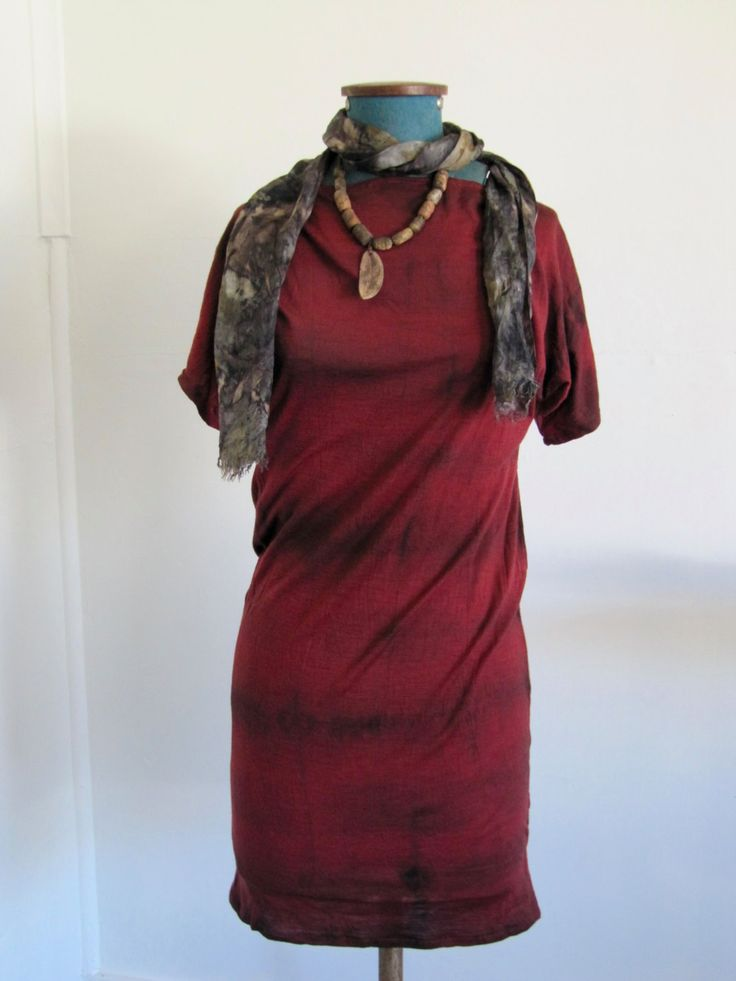 red eco plant dyed dress by colourclothclay on Etsy