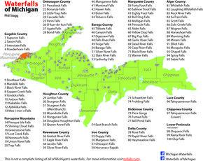 Upper Peninsula of Michigan Waterfall Map