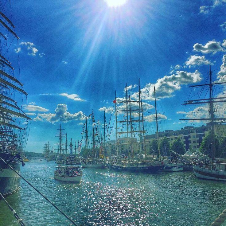 Tall ships race in Finland.