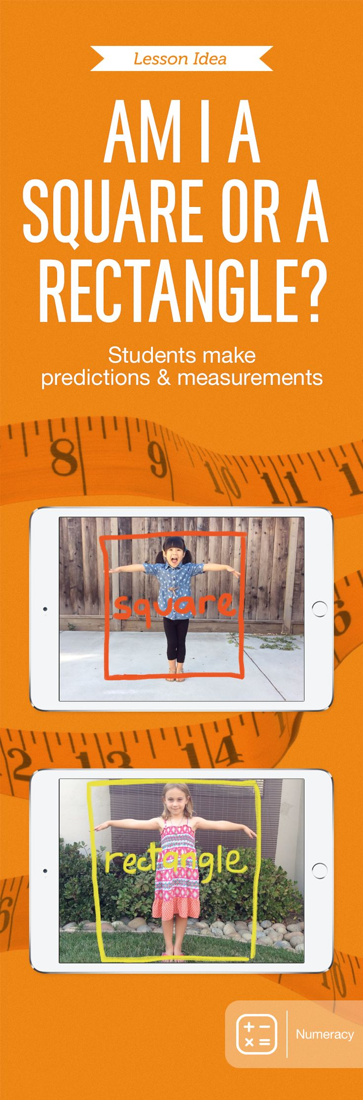 "Kids ages 5 to 6 investigate geometric concepts in ""Are You a Square or a Rectangle?"" Using stop-motion animation, they determine whether their height is equal to, taller, or shorter than their arm spans. After making predictions, they take photos with iPad, create a movie using the Stop Motion Studio app, and share it with the class. For additional lessons, reference this free book: http://apple.co/StopMotionStudio"