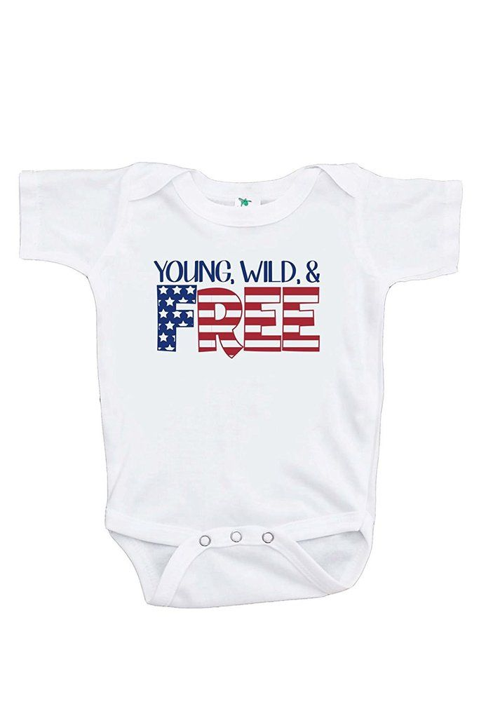 Custom Party Shop Kids Young Wild Free 4th of July Onepiece