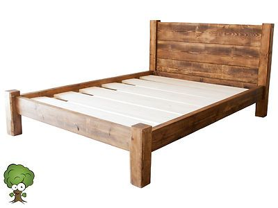 details about solid wood king size beds frame w wooden headboard and under bed storage space