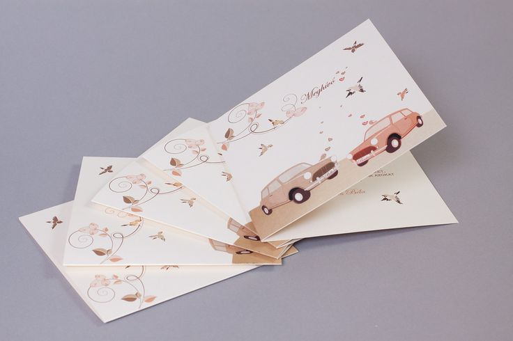 Autós esküvői meghívó, retro car wedding invitation