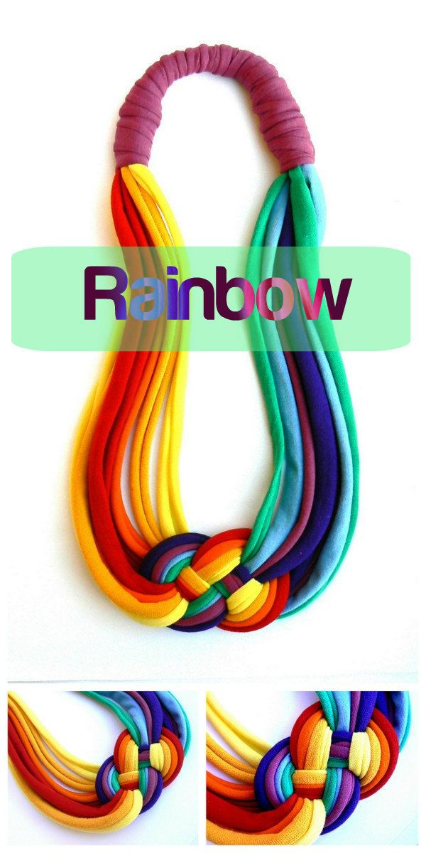 Rainbow cotton necklace.