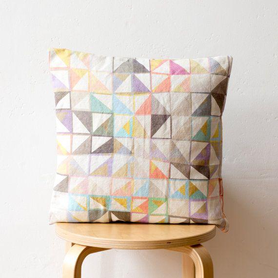 Geometric Print Cushion: 'Purl' large scale by PixelAndThread