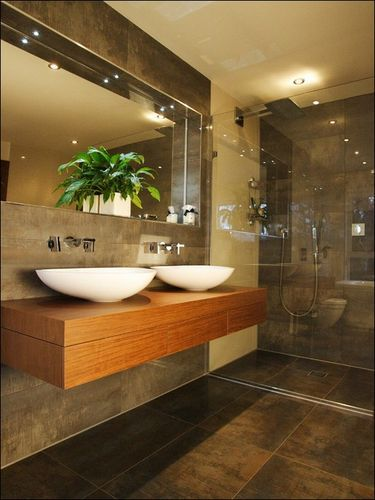 modern bathroom #bathroom tiles, shower, vanity, mirror, faucets, sanitaryware, #interiordesign, mosaics,  modern, jacuzzi, bathtub, tempered glass, washbasins, shower panels #decorating