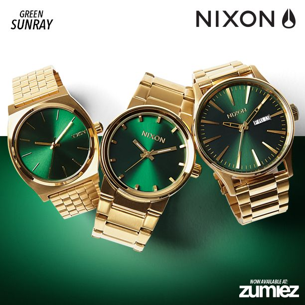 Introducing the nixon gold green sunray collection new and now available exclusively to for Watches zumiez