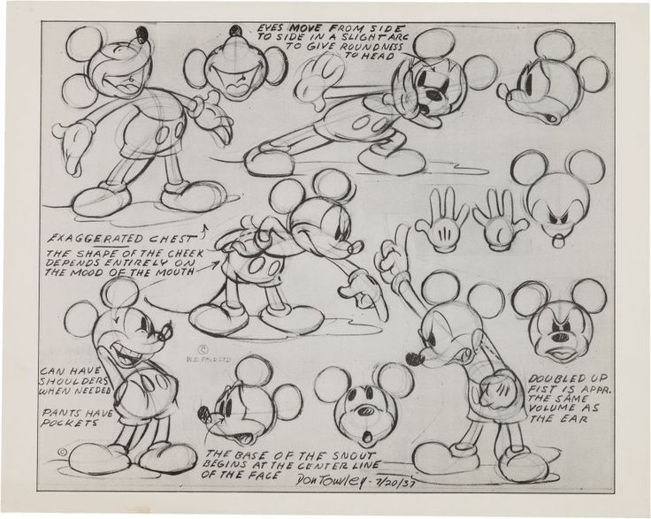 1937 Walt Disney Don Towsley Mickey Mouse Photostat Model Sheet Drawing | eBay