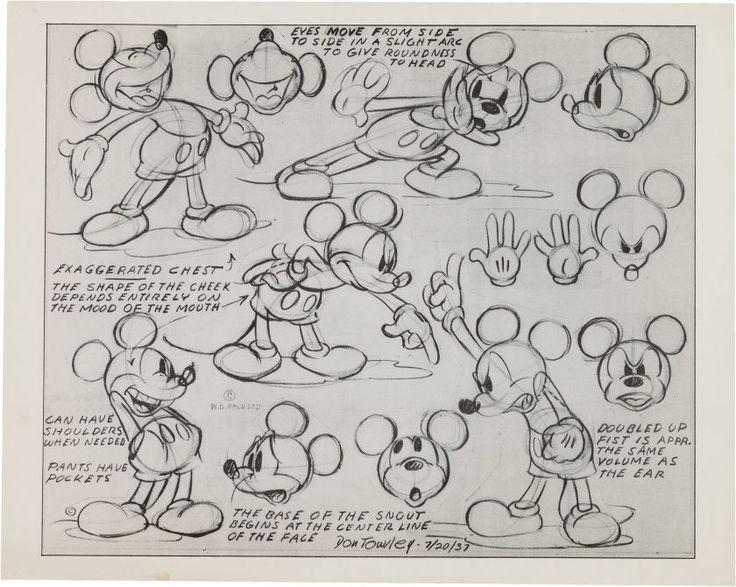 1937 Walt Disney Don Towsley Mickey Mouse Photostat Model Sheet Drawing | eBay