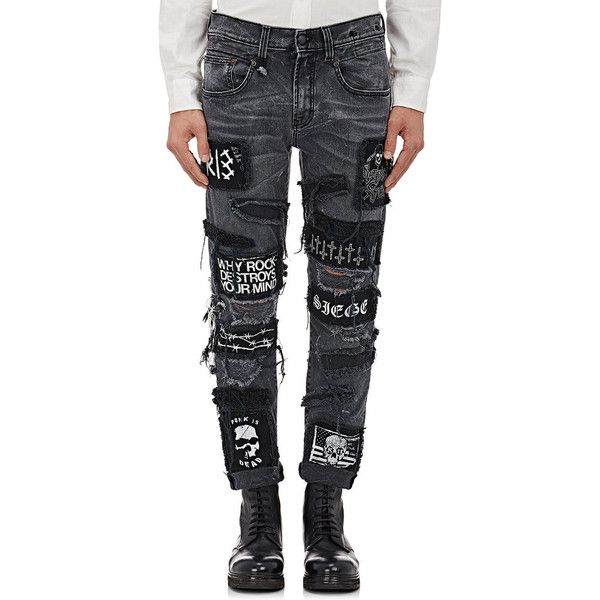"""R13 Men's \""""Boy\"""" Skinny Jeans ($595) ❤ liked on Polyvore featuring men's fashion, men's clothing, men's jeans, grey, mens gray jeans, mens ripped jeans, mens skinny fit jeans, mens distressed skinny jeans and mens patched jeans"""