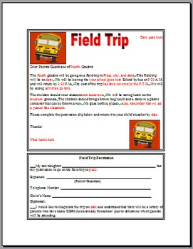 Field Trip Permission Slip - Amber Thomas - TeachersPayTeachers.com