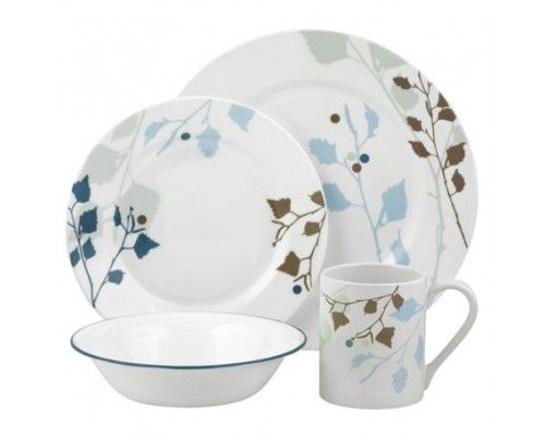 Corelle Leaves 16pc Dinner Set - 4 diinner plates 4 luncheon plates 4 ceral bowls and 4 stoneware mugs. #Corelle #DinnerSet #PopatStores