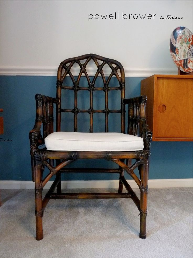 powell brower at home: DIY Tortoise.  Tutorial on how to take a painted bamboo chair and give it a tortoise shell look.