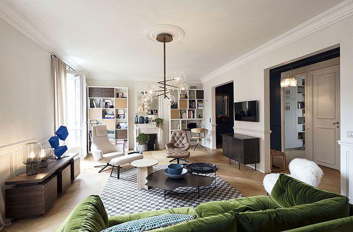 Парижская квартира с синим камином | Пуфик - блог о дизайне интерьера