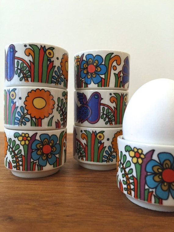 Colorful Vintage Villeroy and Boch Acapulco egg cups