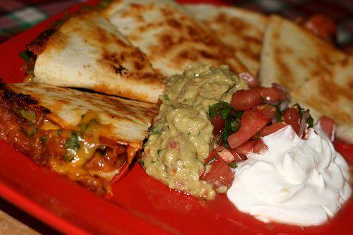 Pork Quesadillas.  A great way to use up left over pork tenderloin.
