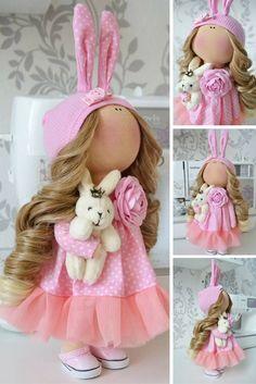 Handmade doll Tilda doll Interior doll Art doll blonde pink colors soft doll…