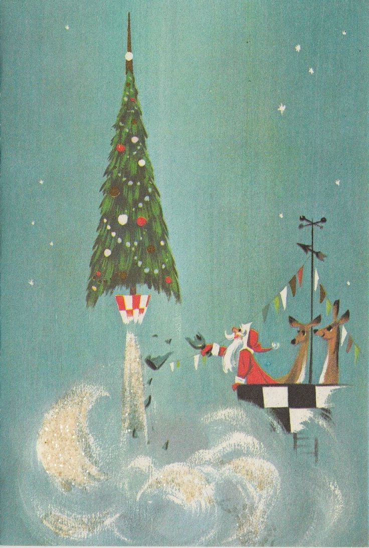 Vintage Greeting Card Christmas Unused Santa Space Rocket Tree Mid Century Mod