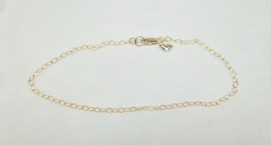 14k Gold Chain Ankle Bracelet Silver Heart by PearlsGemsnCrystals