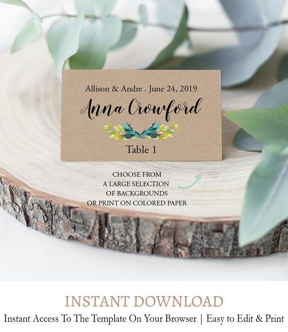 Botanical Place Card Template Greenery Printable Place Card Etsy Place Card Template Card Template Cards