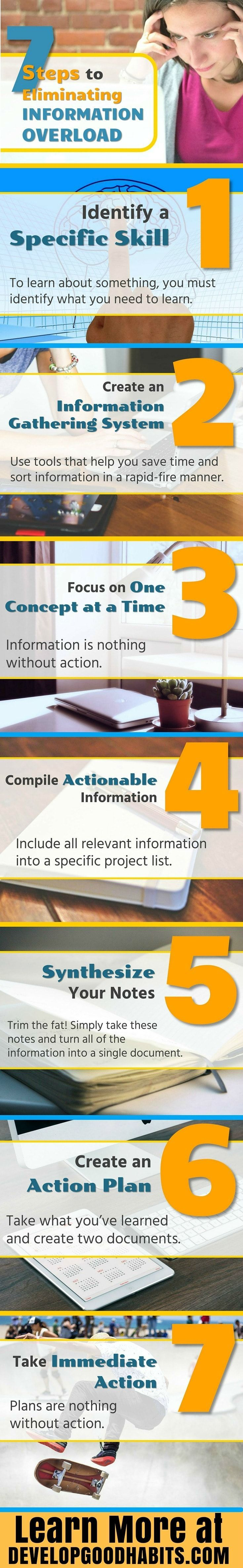 Dealing with information overload. See more details on the seven steps for dealing with too much information (TMI) and how this can help you increase productivity. Excerpt from: Daily Entreprenuer book: http://www.developgoodhabits.com/DE-ebook