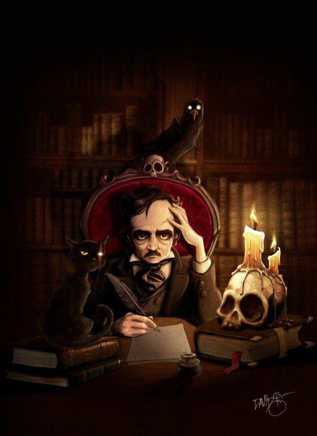 """Ilustración por el español David García Forés para la portada de la edición japonesa de """"Ravings of Love & Death"""".-15 Ilustraciones tributo al romántico más oscuro: Edgar Allan Poe"""