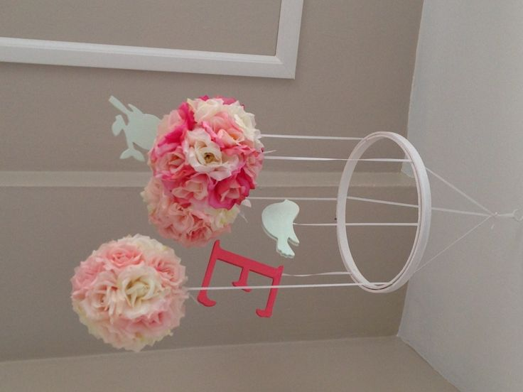 Girly and sweet pink #DIY mobile - #nurserydecor: Sweet Lana, Craft, Flower Ball, Faux Flower, Color, Sweet Pink