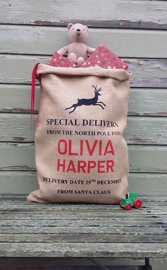 Personalised Christmas Sack Hand Screen Printed by silverbobbin